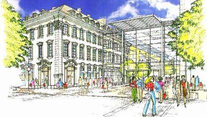 So hatten im Juli erste Skizzen von Sonae Sierra für das Fürther Einkaufszentrum ausgesehen, Kritiker sprachen von einem «Flughafenterminal». Der Wettbewerb soll nun neue, städtebaulich hochwertige Impulse geben. Repro: FN