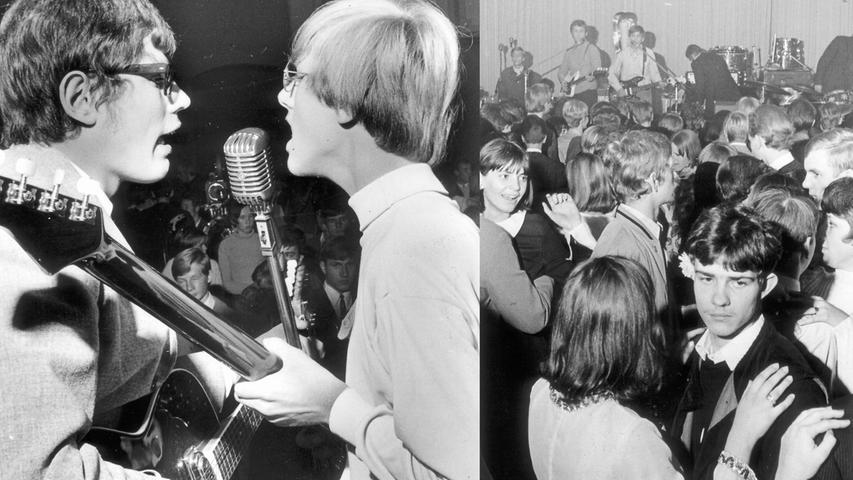 Ausschnitte vom Abend der heißen Rhythmen: Pausenlos malträtierten die Bands (links eine von 28) die Ohren ihrer Anhängerschar, die das allerdings nur allzu gern in Kauf nahm. Weltvergessen huldigten die Teenager und Twens ihrem Verrenkungssport (rechts).  Hier geht es zum Kalenderblatt vom 30. Oktober 1967: Beat ist nicht tot