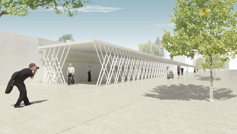 Nach den Entwürfen des Architekturbüros SRAP aus Nürnberg könnte das geplante Fahrradparkhaus am Nelson-Mandela-Platz in etwa so aussehen.