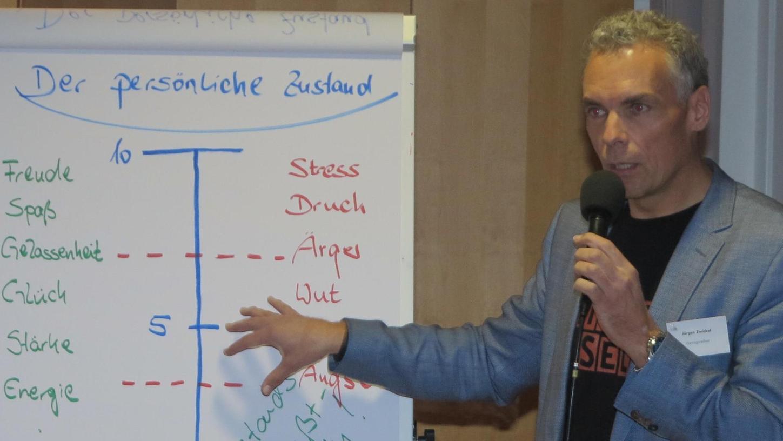 Jürgen Zwickel bei seinem engagierten Vortrag beim Arbeitgeber-Arbeitnehmer-Abend der Stadt Gunzenhausen im Bethelsaal der Stiftung Hensoltshöhe.