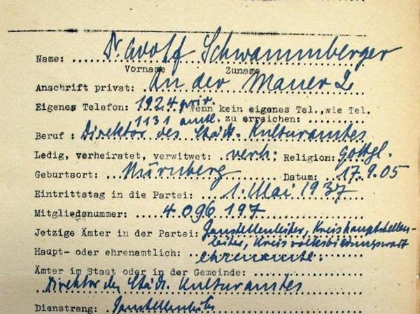 """In diesem Dokument aus dem Archiv in Torún nannte Schwammberger handschriftlich seine Spezialgebiete als Redner, unter anderem: """"Judenfrage""""."""