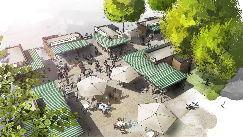 """So soll das Herzstück des Marktes aussehen: die """"Gastro-Piazza"""" an der Adenaueranlage."""