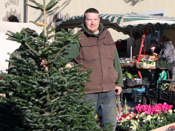 Benjamin Lemke versorgt am Stand der Gärtnerei Grau auf dem Wochenmarkt die Gunzenhäuser mit dem passenden Weihnachtsbaum.