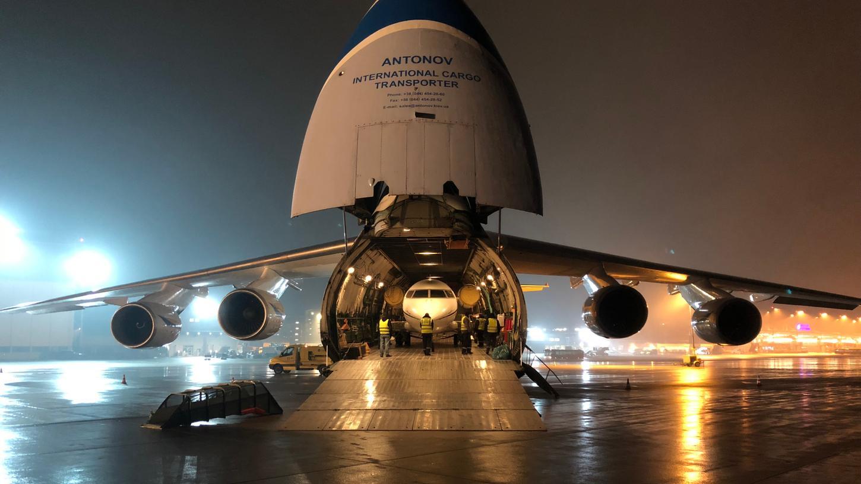 Die ausrangierte Maschine trat im Bauch einer Antonow 124 ihre letzte Reise nach Nürnberg an.