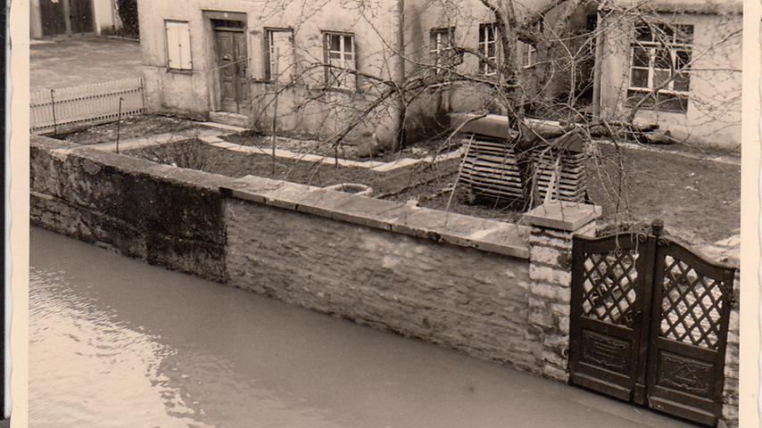 Historisches Hochwasser in Pappenheim 1956.