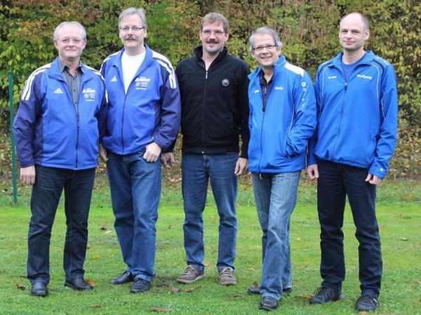 Meisterliche Bayernliga-Schützen: Johann Eberle, Wilfried Stautner, Hermann Sammiller, Martin Hetzer und Wolfgang Thomas (von links).