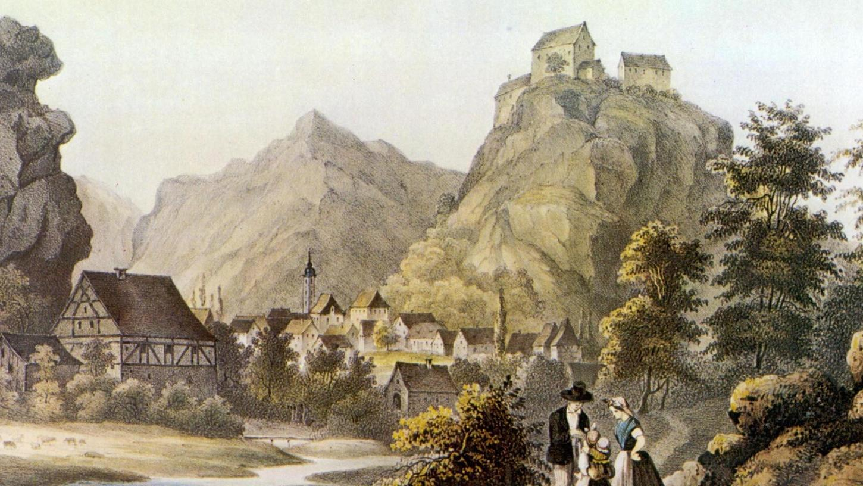 Das Bild zeigt einen Stahlstich Pottensteins, gezeichnet von Carl Käppel, lithographiert von Theodor Rothbart, um das Jahr 1830, 200 Jahre nach den beschriebenen Ereignissen.