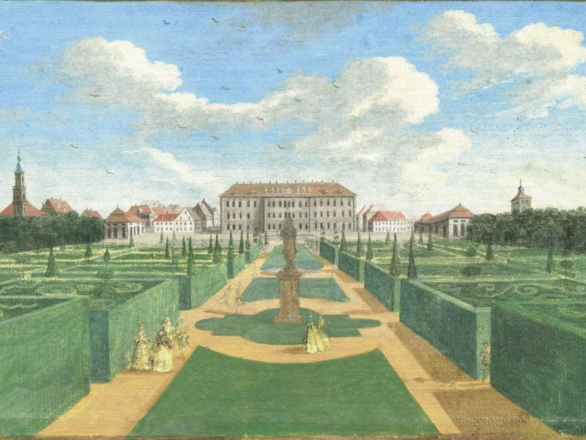 Motiv: Der Schlossgarten von Osten, 1780..Stadtarchiv Erlangen Schlossgarten; Schloßgarten; historisch