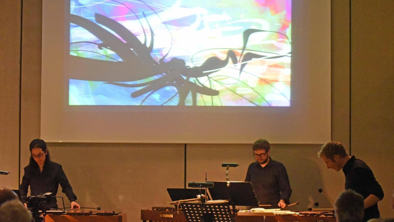 Radek Szarek (re.) und seine Musiker zauberten ungewöhnliche Klänge ins Stadtmuseum. Die passenden Bilder, live gemalt, steuerte die Fürther Malerin Sascha Banck bei.