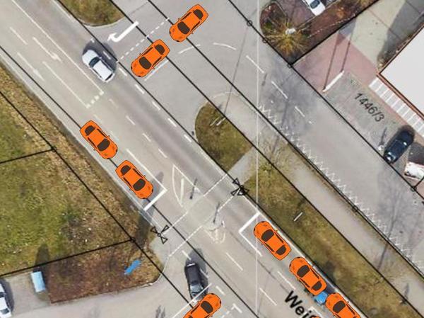Wie sich eine Ampelanlage auf die Verkehrssituation in der Weißenburger Straße auswirken könnte, zeigt diese Fotomontage der Stadtverwaltung Gunzenhausen.
