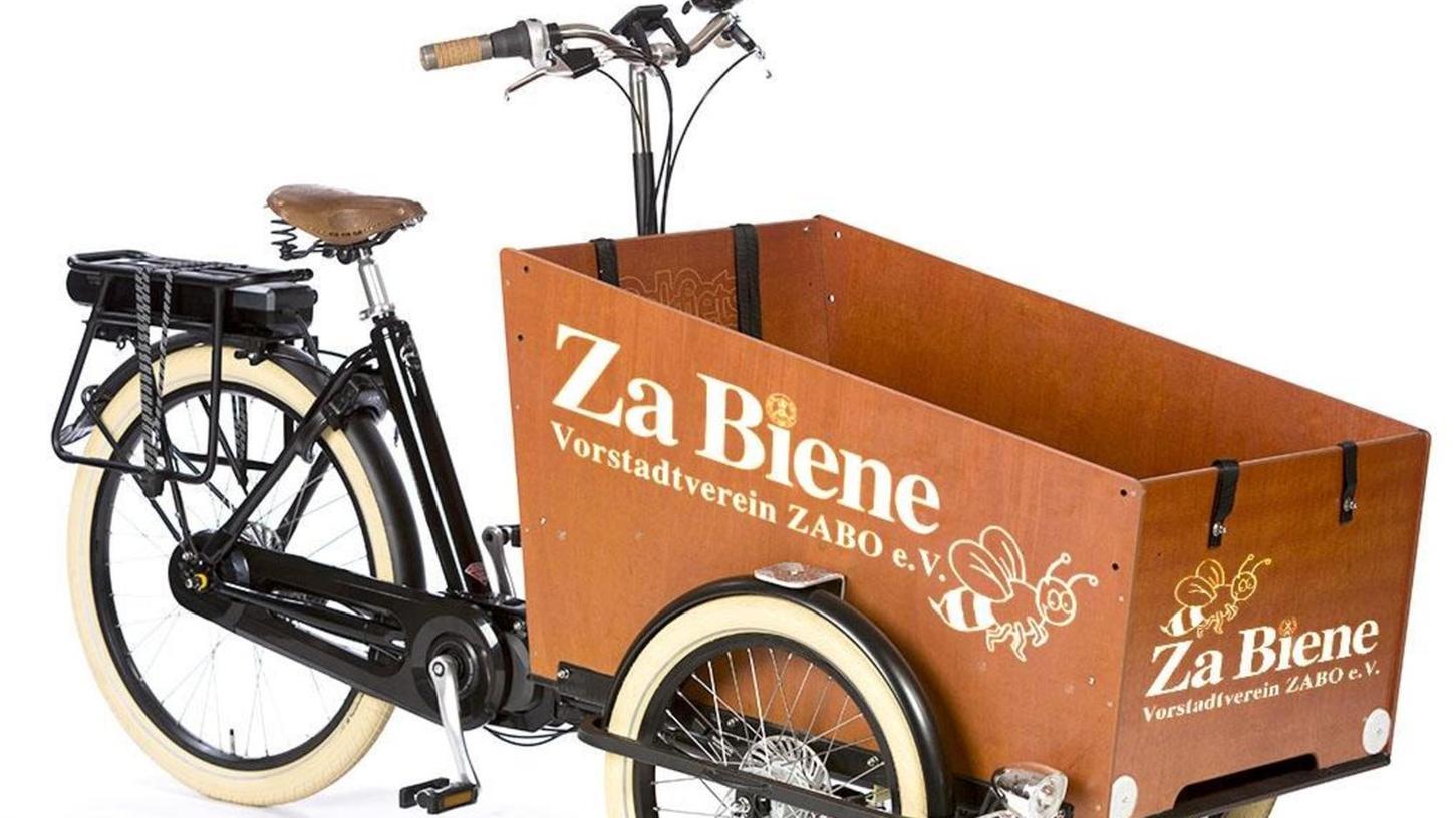 Platz für Getränke, schwere Waren oder auch Kinder: So könnte das Zabo-Lastenrad zum Ausleihen aussehen.