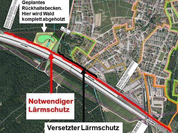 Diese Karte zeigt die Bürgerinitiative auf ihrer Webseite und ihren Flyern. Die schwarze Linie markiert den Lärmschutz, den die Autobahndirektion vorsieht. Die rote den, den die Fischbacher sich vorstellen.