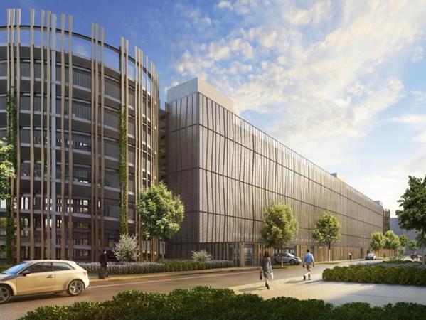 So soll das neue Parkhaus mit seiner aufwendig geplanten Fassade künftig aussehen. Es umfasst 800 Stellplätze für die GfK-Mitarbeiter und wurde ebenso wie die Bürogebäude von KSP Jürgen Engel (Frankfurt/München) geplant.