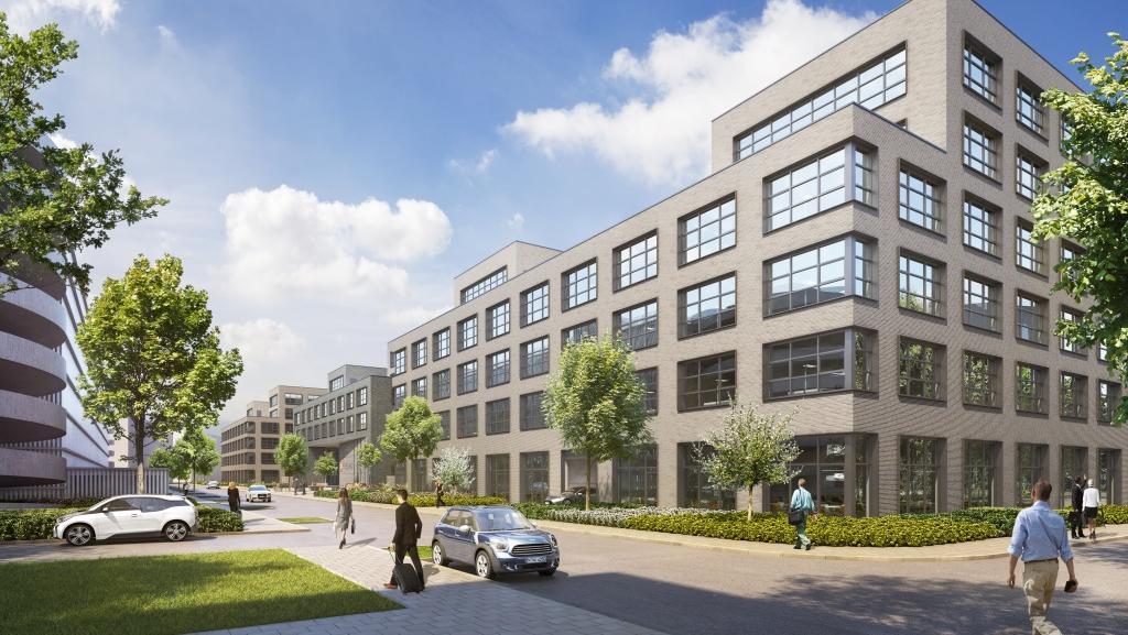 Vergangenheit trifft Moderne: Backsteine säumen die neuen Bürohauser der GfK, derweil sollen Glaselemente für Lichtdurchflutung sorgen.