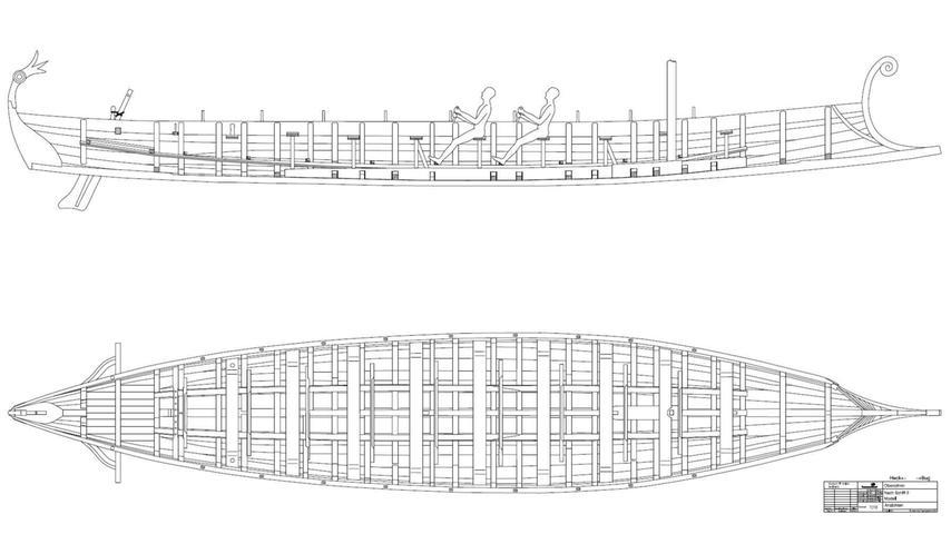 20 Mann werden Platz haben in dem 16 Meter langen und 2,5 Meter breiten Boot. Überlieferte Pläne oder Skizzen für den antiken Schiffsbau gibt es nicht. Darum hat Initiator und Historikprofessor Boris Dreyer eine Zeichnung anfertigen lassen.