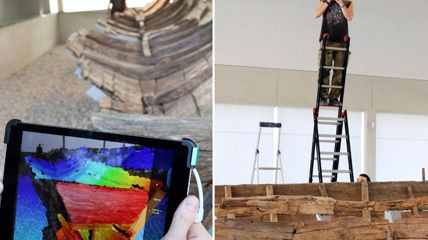 Eine Tiefenkamera setzt Entfernungen in Farbe um. Rot erscheinen Elemente, die nah sind, Blau steht für einen größeren Abstand. In kurzer Zeit konnten die Forscher so einfache räumliche Darstellungen erstellen. Außerdem wurde das Wrack aus unterschiedlichen Perspektiven fotografiert. Ein Reproduktionsprogramm fügte die Fotos zusammen und verarbeitete sie zu einem dreidimensionalen Modell.