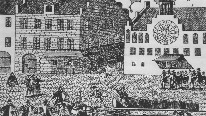 """1855 kauft das Gesamtgeschlecht der Tucher das Weizenbrauhaus und benennt es in """"Freiherrlich von Tucher'sche Brauerei"""" um. Dieses Brauhaus setzt als letzte noch existierende Brauerei Nürnbergs die alte Tradition fort."""