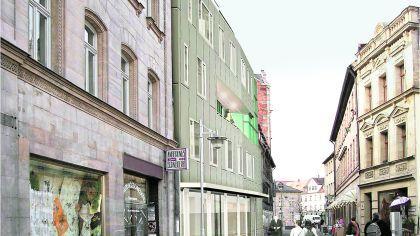 Die Montage des Architekten Peter Dürschinger zeigt den umstrittenen Neubau aus der Sicht eines Fußgängers, der durch die Ludwig-Erhard-Straße geht. Als Gag darf auch Ex-Kanzler Erhard (Mitte) hier entlang laufen.Montage: Dürschinger