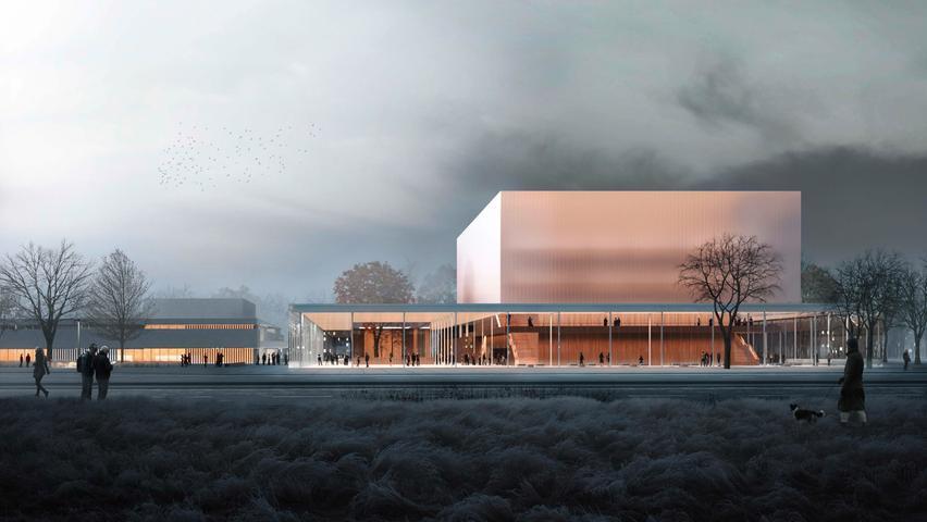 Die Detailplanungen laufen bereits, denn schon 2021 sollen die Bagger an der Münchener Straße anrollen. Bis 2025 errichtet die Stadt hier einen neuen Konzertsaal neben der Meistersingerhalle. Dank dem künftigen Zuhause der Nürnberger Philharmonie, das nach Entwürfen des von Johannes Kappler Architekten, dem Architekturbüro Super Future Collectiv und den Landschaftsarchitekten Topotek 1 enstehen wird, soll Nürnberg in der erste Liga spielen und dem Vergleich mit Standorten wie Berlin, München, Zürich und Luzern standhalten können.