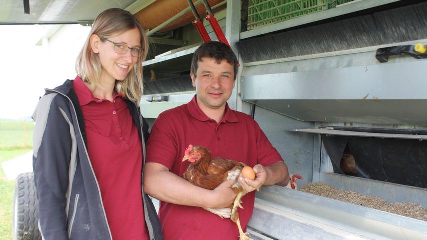 Artgerechte Haltung im mobilen Hühnerstall in Dittenheim