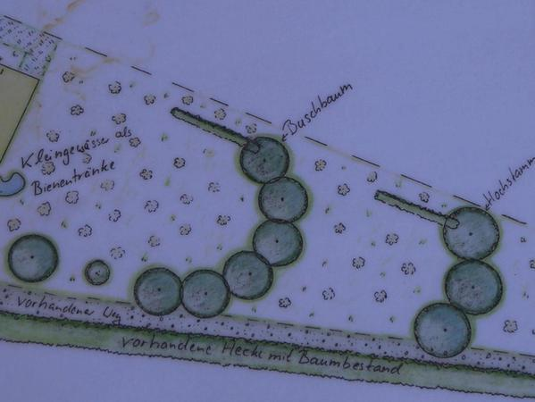 So soll der Außenplan für den Lehrbienenstand aussehen.