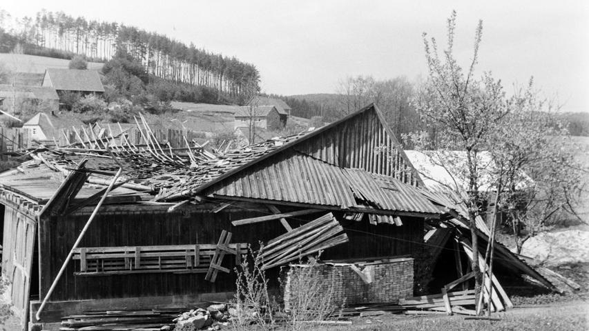 Vor 50 Jahren wütete eine der schlimmsten Sturmkatastrophen im Raum Pegnitz. Nicht nur im Veldensteiner Forst wurden Tausende von Festmetern Holz wie Streichhölzer geknickt. In Pegnitz etwa fiel ein Baum auf die Schloßberghalle. Dazu deckte der Wind am Krankenhaus das Dach der Kapelle und des Bettenhauses ab. In Püttlach wurde eine Scheune am Anwesen Hümmer um 20 Zentimeter verrückt (Bild), ehe sie krachend zusammenbrach. In Schwürz wurde ein Wohnhaus schwer beschädigt und in Spies der halbe Obstbaumbestand zerstört. In Trockau wurde das Dach der Autobahnmeisterei teilweise abgedeckt. Nicht nur Forstrat Josef Niederwald war vom Ausmaß der Schäden entsetzt. Tagelang waren Bautrupps damit beschäftigt, die teilweise unpassierbaren Straßen wieder freizuschneiden. Insgesamt gingen die Schäden in die Hunderttausende.