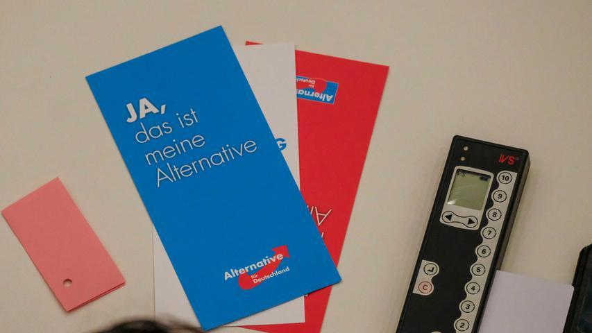 RegBy.Motiv: AfD Parteitag in der Nürnberger Meistersingerhalle; Stimmkarten und Stimmgerät.Foto: Guenter Distler.