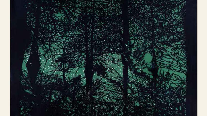 geb. 1937 in Bamberg lebt in Margetshöchheim Sumpf (2017) 70 x 100 cm Papierschnitt