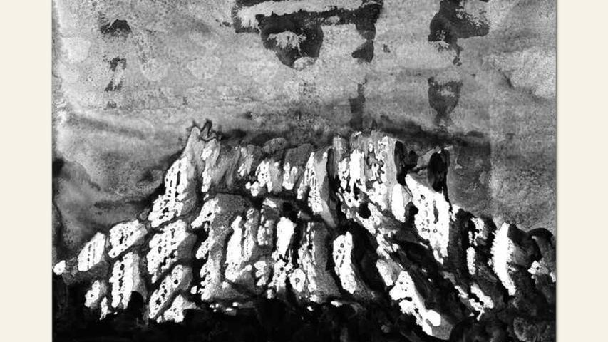 geb. 1958 in Nürnberg lebt in Kalchreuth Berge erinnert-D_021 (2017) 21 x 29 cm Mischtechnik auf Karton ebenfalls gezeigt:  Berge erinnert-D_016 (2017) 20 x 20 cm Mischtechnik auf Karton