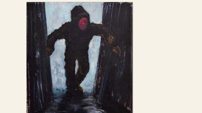 geb. 1988 in Hof lebt in Nürnberg Besuch (2017) 30 x 24 cm Acryl und Öl auf Leinwand ebenfalls gezeigt: Ohne Titel (2018) 30 x 24 cm Öl auf Leinwand