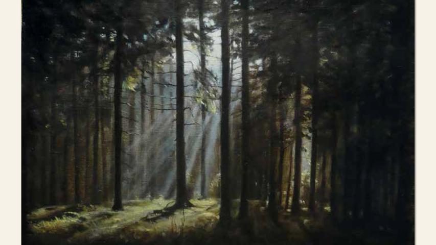 geb. 1978 in Nürnberg lebt in Regelsbach Nacht im Wald (2017) 38 x 55 cm Öl auf Leinwand