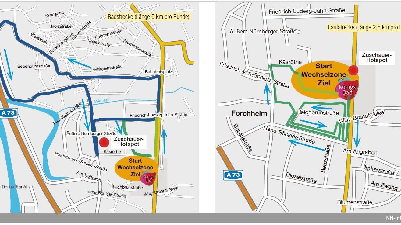 Die Streckenführung beim Forchheimer Stadttriathlon