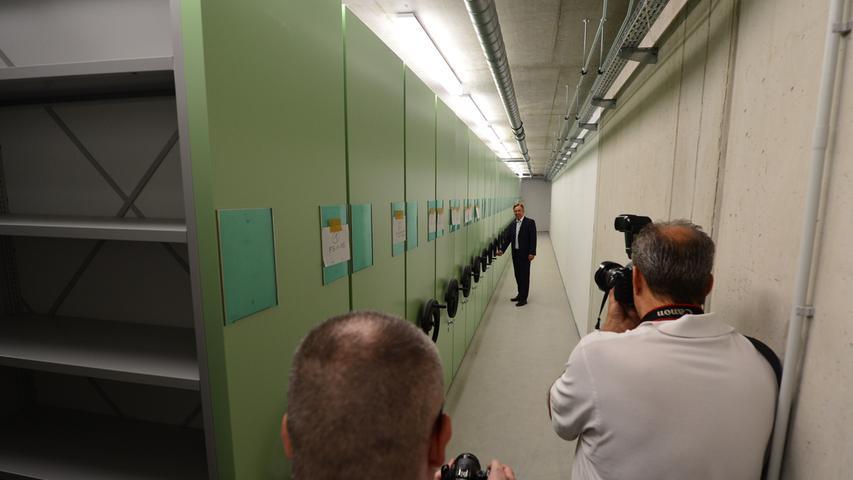 Das neue Landratsamt ist bezugsfertig. Das Archiv im Keller.. Foto: Klaus-Dieter Schreiter.