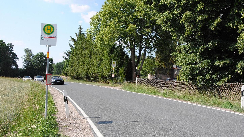 In dieser Kurve südlich von Sperberslohe wurde 2017 eine Schulbushaltestelle eingerichtet – Eltern begrüßen das, sorgen sich wegen der schnell vorbeifahrenden Autos aber um ihre Kinder, die die Staatsstraße 2225 täglich überqueren.