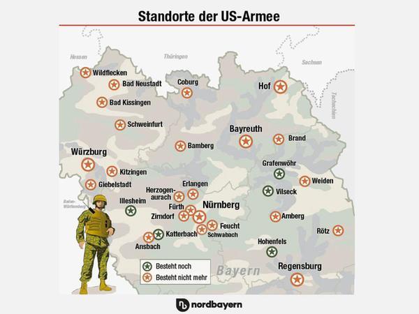 Das sind die ehemaligen und aktuellen Standorte der US-Armee in Franken und der Oberpfalz.