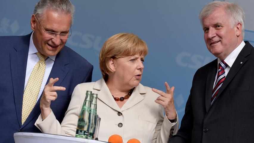 2013 machte Angela Merkel in Erlangen Halt. Der Grund: Eine Wahlkampfveranstaltung zog sie zusammen mit Joachim Hermann und Horst Seehofer auf die Bühne (beide CSU).