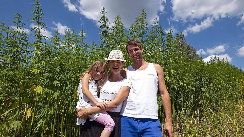 Josef Bayer, seine Freundin Yvonne Lauterbach und die gemeinsame Tochter Leni vor den Hanfstauden, die in den vergangenen Wochen mächtig in die Höhe geschossen sind. Teilweise sind die Pflanzen rund vier Meter hoch.