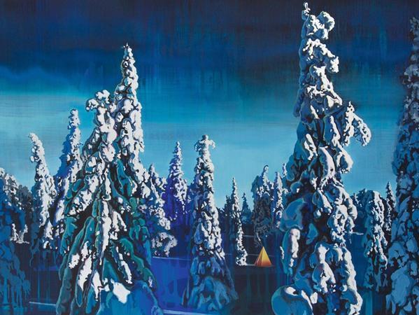 """Wenn dieser Anblick mal nicht gut tut bei den Temperaturen draußen: """"Das gelbe Zelt"""" heißt dieses Bild von Eunhui Lee. Die Nomaden im märchenhaften deutschen Winterwald sind ein Beispiel dafür, wie die Künstlerin, die aus Korea stammt und in Nürnberg lebt, die Begegnung der Kulturen thematisiert."""