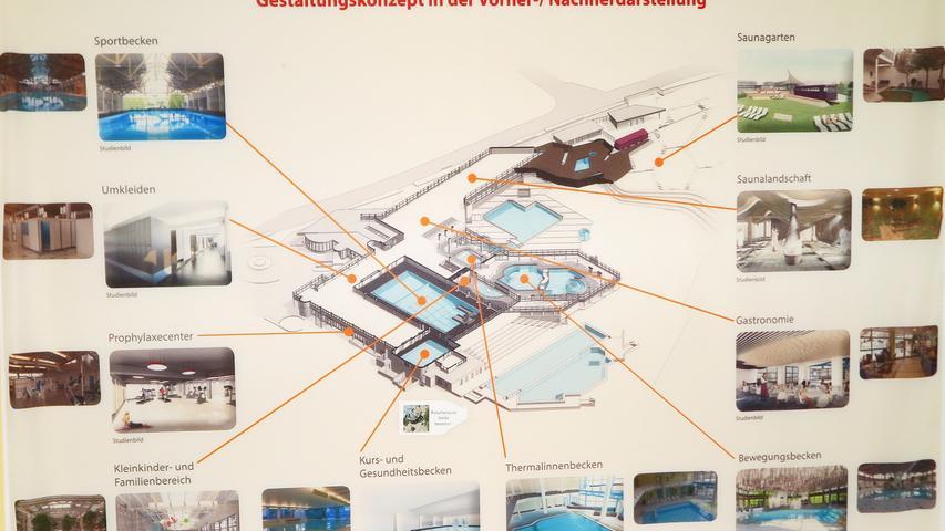Einen Eindruck von der neuen Anordnung der Badbereiche der Altmühltherme gibt dieser Übersichtsplan, der im Eingangsbereich hängt.
