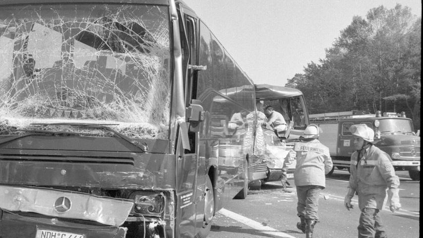 80 Verletzte gab es im Jahr 1997, als im Baustellenbereich an der A9-Ausfahrt Pegnitz gleich vier Reisebusse in einen Unfall verwickelt waren.