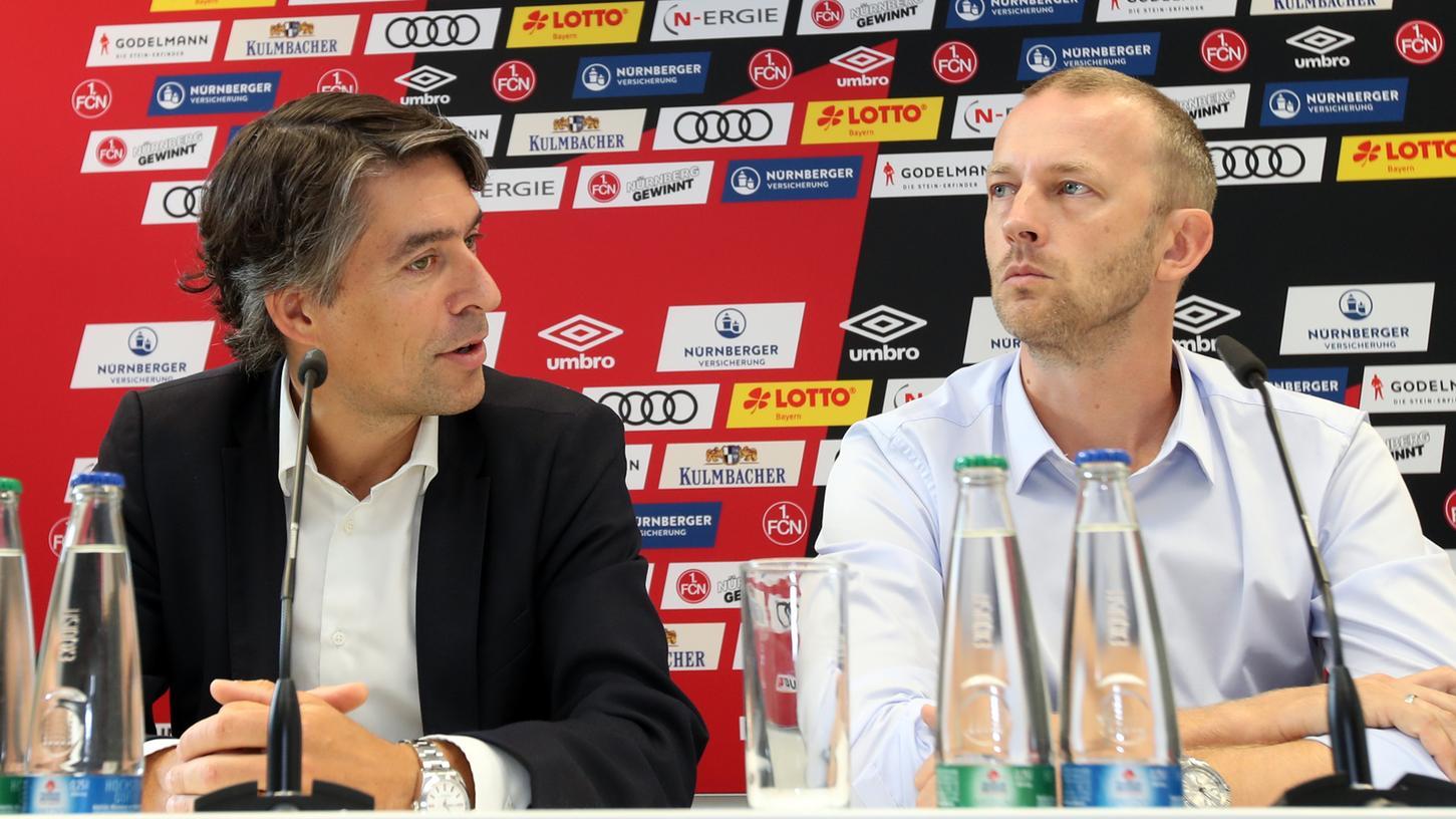 Auch ohne Augenkontakt versteht man sich: Niels Rossow folgt Michael Meeske als Finanz-Chef des 1. FC Nürnberg nach.