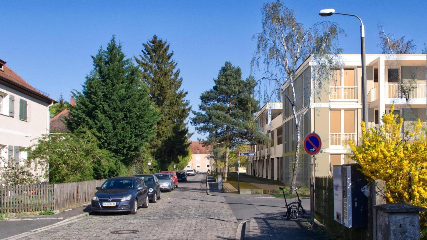So könnte sich der Neubau auf dem Erba-Gelände in Zukunft darstellen (re.) . Das Architekturbüro hat visualisert , wie sich das neue Bauensemble der Gewobau in der Johann-Jürgen-Straße in die Umgebung einpassen wird.
