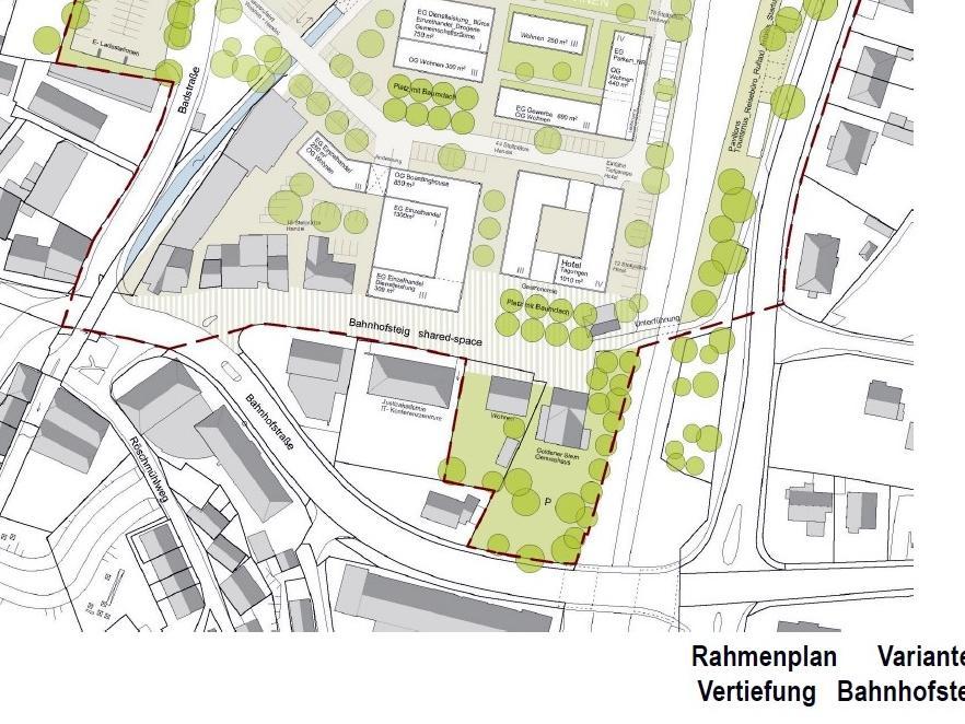 So stellen sich die Planer die künftige Umgebung des Bahnhofsteigs vor, mit einem bis zu vierstöckigen Laden- und Boardinghaus, einem Hotel, Gastronomie und Wohnungen.