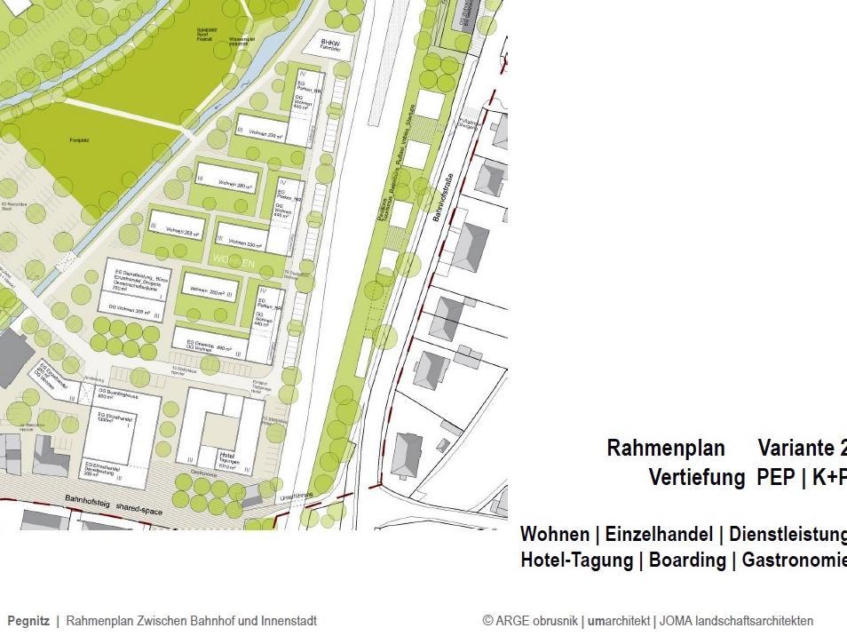 Auf dem jetzigen PEP-Areal sieht die Rahmenplanung eine Mischnutzung aus Gewerbe und Wohnen vor. Auf der anderen Seite der Bahn sollen entlang des Fußwegs in die Stadt Info-Pavillons entstehen.