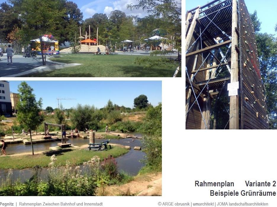 Die Planer würden durch das Planungsgebiet gerne eine Verbindung des Grüngürtels aus dem Fichtenohetal bis hinüber zum Schloßberg schaffen, mit Wasserspielplatz und Kletterturm.