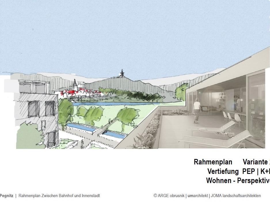 So stellen sich die Planer den künftigen Blick aus den Wohnungen hinüber zum Schloßberg vor.