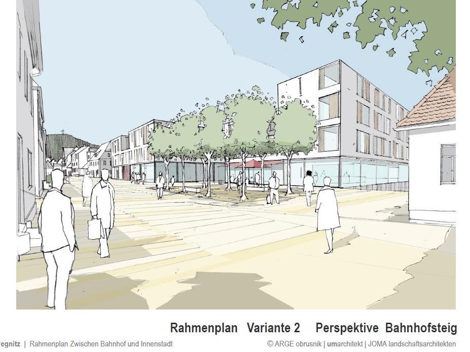 Der zur Flaniermeile aufgewertete Bahnhofsteig würde ein ganz neues Aussehen erhalten mit einem vierstöckigen Wohn- und Geschäftshaus am jetzigen K+P-Standort sowie Gastronomie rund um das Genusshaus