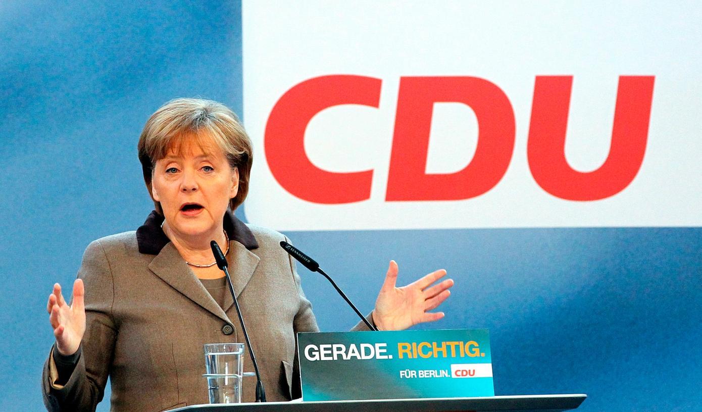 Bundeskanzlerin Merkel beim Wahlkampf in Berlin. In Bayern tritt ihre Partei nicht an, hier hält bei Bundestagswahlen ausschließlich die CSU die Stellung für die Union.