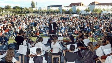 Volle Wiese im Park: Auch das Nachwuchsorchester der Jungen Fürther Streichhölzer entzückte die Masse am Samstagabend.
