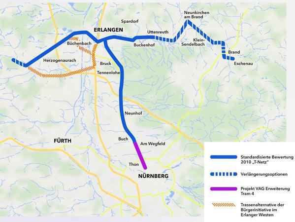 Per Bürgerentscheid haben die Bürger des Landkreises ERH den Ostast (rechts) gekappt. 14 Bürgermeister aus Gemeinden östlich von Erlangen wollen die Tür für einen späteren Ausbau der StUB offen halten.